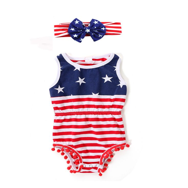 >> Click to Buy << Newborn Baby Clothes Baby Girl 1st Patriotic Day Jumpsuit Onesie Infantil Girl Fourth Of July Pom Pom Romper With Headband #Affiliate