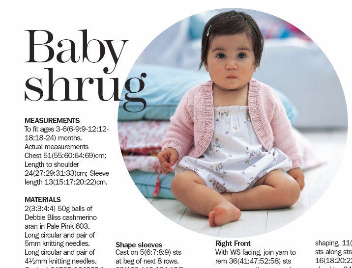 Debbie Bliss Baby Shrug Help - Free Ravelry Pattern (http://www.ravelry.com/patterns/library/baby-shrug)