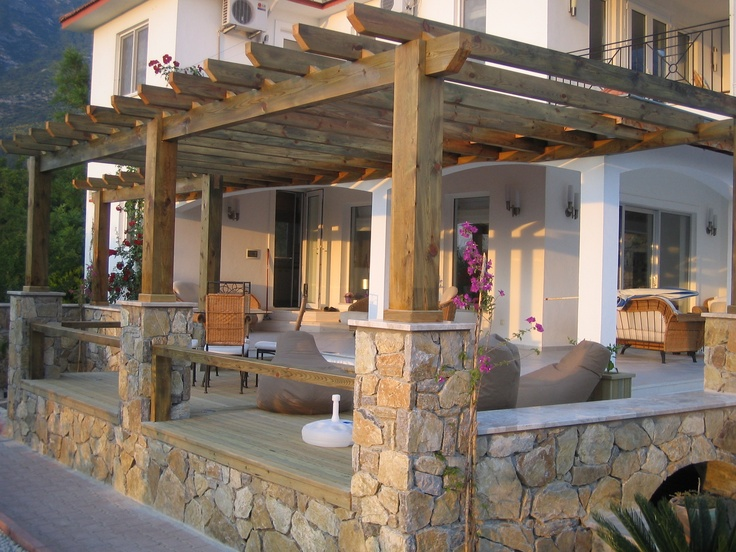 Love This Stone And Wood Deck Outdoor Spaces