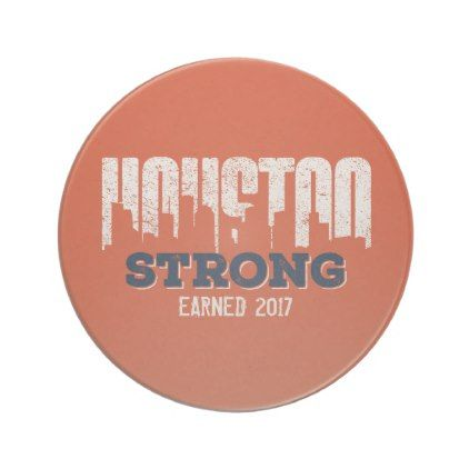Houston Strong Distressed Sandstone Coaster - home gifts ideas decor special unique custom individual customized individualized