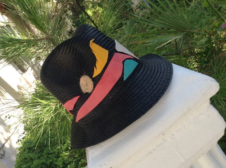 Summer hat crea Black on pink leather strap with yellow bird  gamzegedesignstudio.com