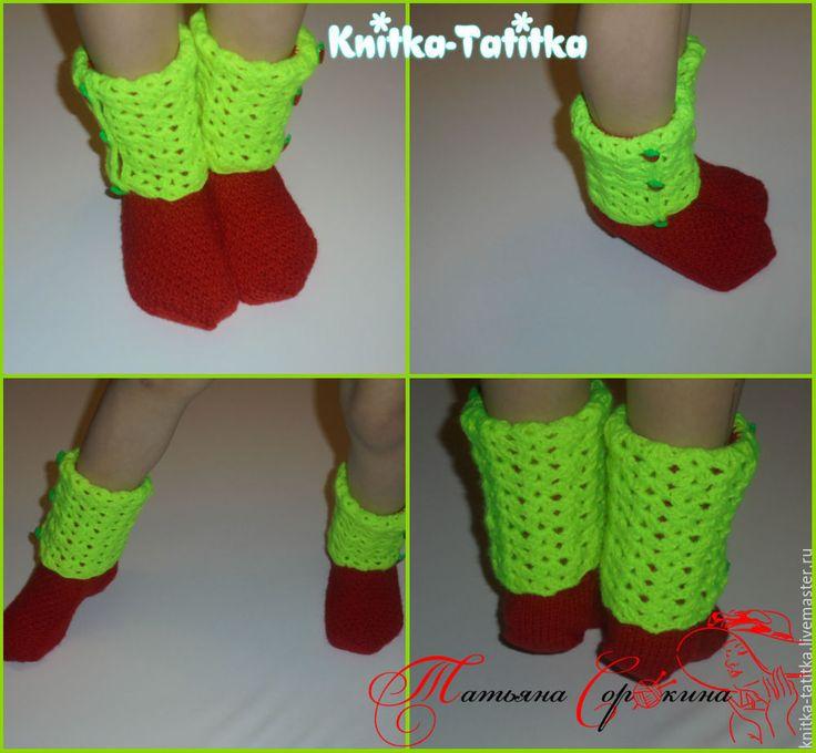 Купить Носочки детские - ярко-красный, носки, носки яркие, носки спицами, носки для девочки