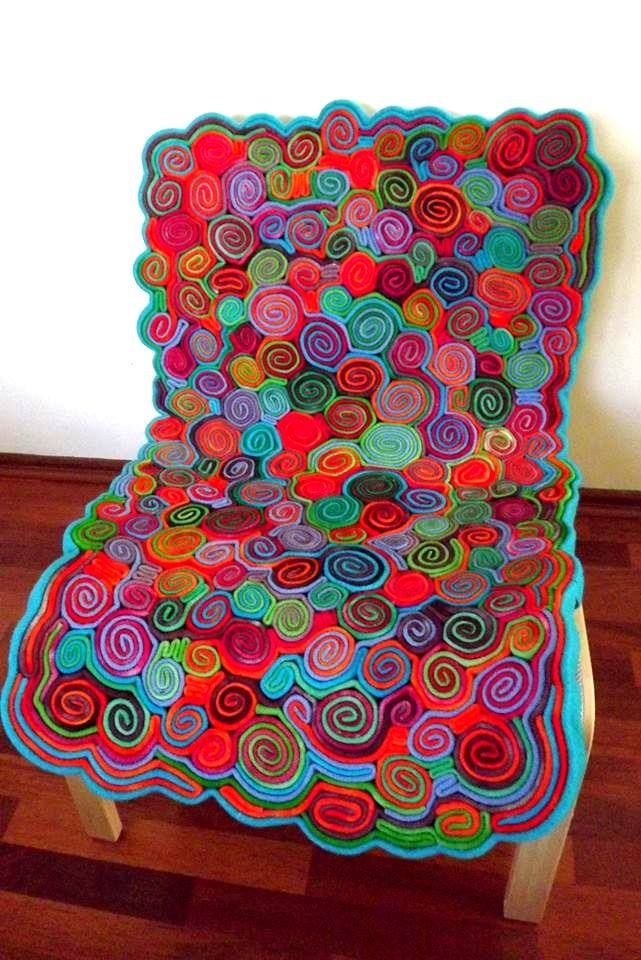 """""""le tourbillon derrie're"""" Upcycled, dyed 100% Wool Blankets. Chair from Ikea."""