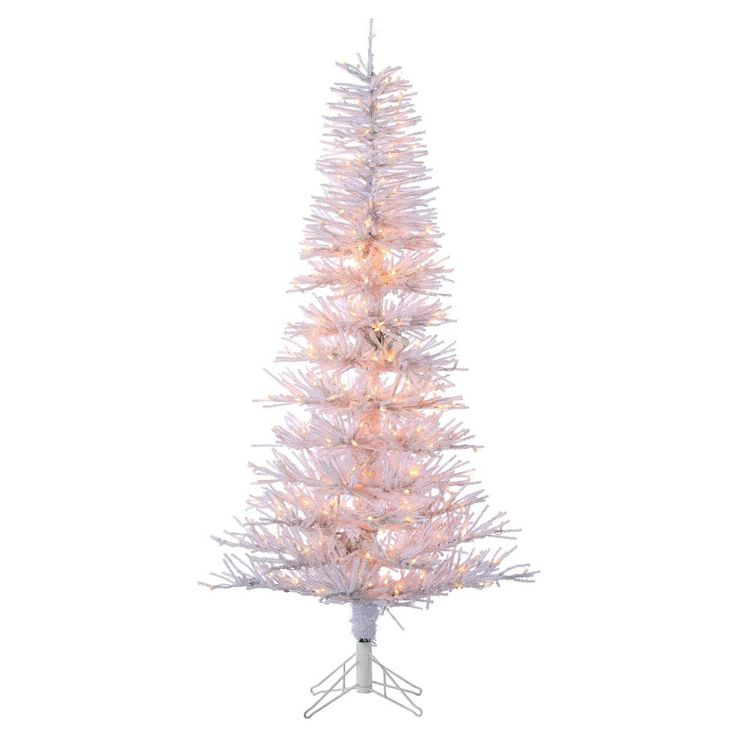 6ft Pre-Lit Artificial Christmas Tree White Tinsel Twig Tree - Clear Lights,