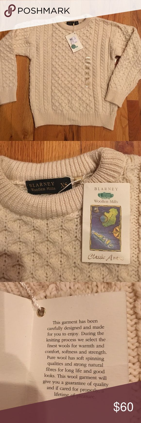 NWT women's extra small Irish sweater GORGEOUS! New with tags's women's extra small Irish sweater from the Blarney Woollen Mills in Ireland. Blarney Woollen Mills Sweaters Crew & Scoop Necks