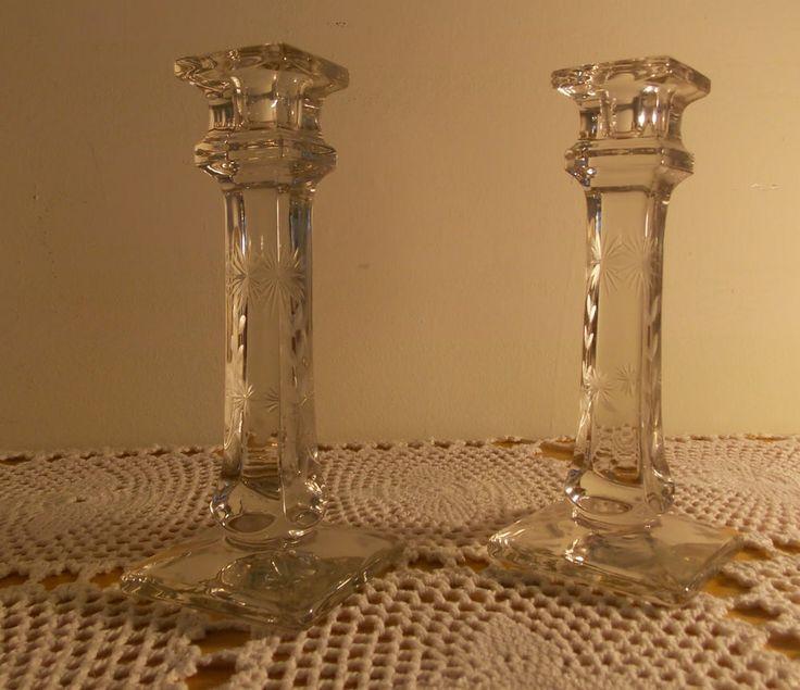 2 Vintage Etched Glass Candlesticks Holders Starburst