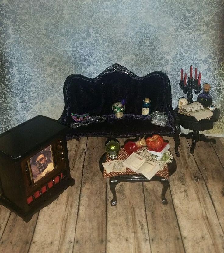 1:12 Scale Dollhouse Miniature 4pc Spooky Halloween Living Room Set  #ROC