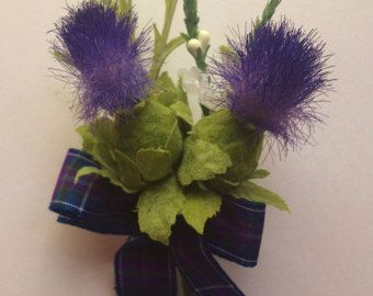 Stunning Scottish Thistle Buttonhole for the by ClovaThistles