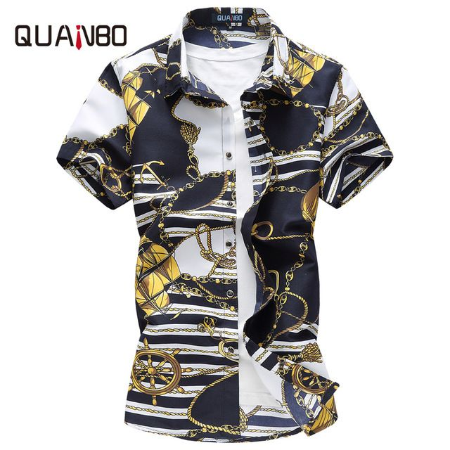 Check current price QUANBO Brand Clothing Plus size M-5XL 6XL Mens Floral Shirt 2017 New Summer Casual Shirts Mens Short Sleeve Print Shirt Camisa just only $12.23 with free shipping worldwide  #shirtsformen Plese click on picture to see our special price for you