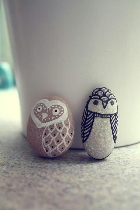 Owls painted on rocks - so sweet.