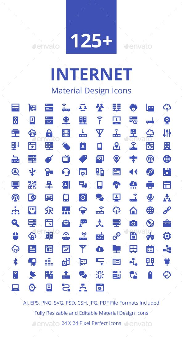 125+ Internet Material Design Icons. Download here: https://graphicriver.net/item/125-internet-material-design-icons/17673931?ref=ksioks