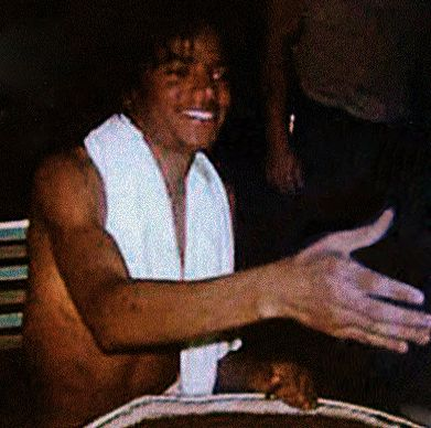 This picture clearly shows Michael's vitiligo. He wore his glove on his left hand on Motown 25, but soon after switched it to his right hand to hide the progress of the disease. It makes me so angry to hear people say Michael bleached his skin because he didn't want to be black!  The glove became a trademark and fashion statement, to be sure, but to this day so many people still don't know WHY he started using the glove. © Raynetta Manees, Author of #AllForLove, inspired by #MichaelJackson
