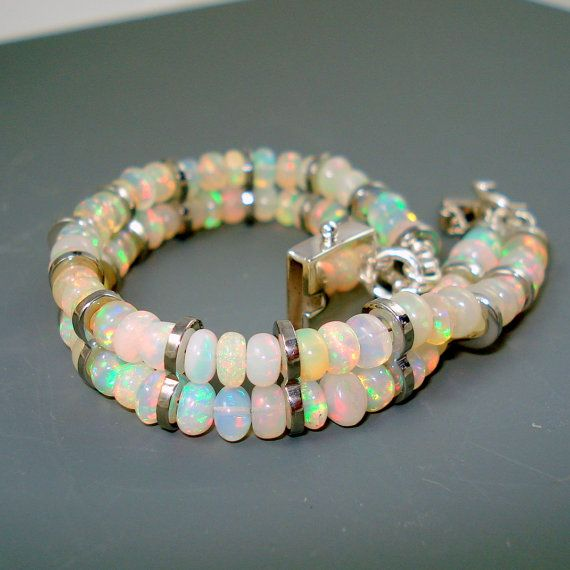 Opal Bracelet Fire Opal and Stainless Steel by JewelryByJacoby
