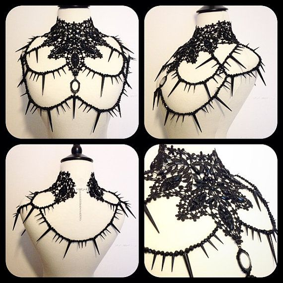 Handmade necklace with studs rhinestones lace and di Videnoir