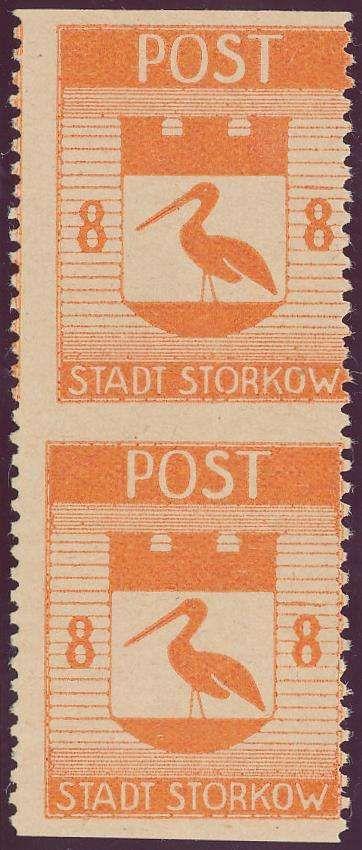 German Local Issue, Lokalausgaben 1946, Storkow, 8 Pfg. im senkrechten Paar, waagrecht ungezähnt, postfrisch Pracht (postfr., Mi.-Nr.13 Uw, Mi.EUR 100,--). 25 EUR.
