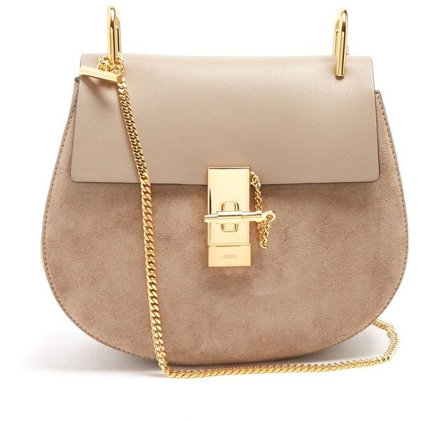 Chloé Drew small suede and leather cross-body bag ($1,950) ❤ liked on Polyvore featuring bags, handbags, shoulder bags, leather crossbody purse, leather shoulder handbags, chloe shoulder bag, leather purses and leather cross body handbags