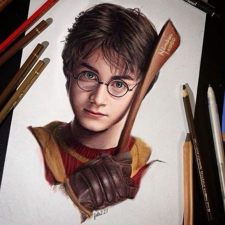 Harry Potter Coloured Pencil Drawing