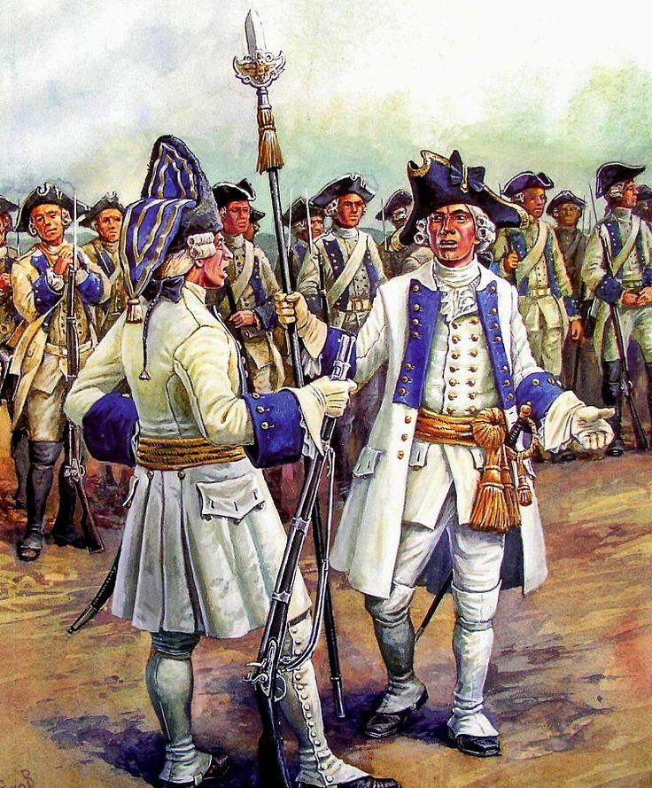 Seven Years War, Austrian infantry. Grenadier officer and infantry officer IR 24 von Staremberg, 1759 by A. Yezhov