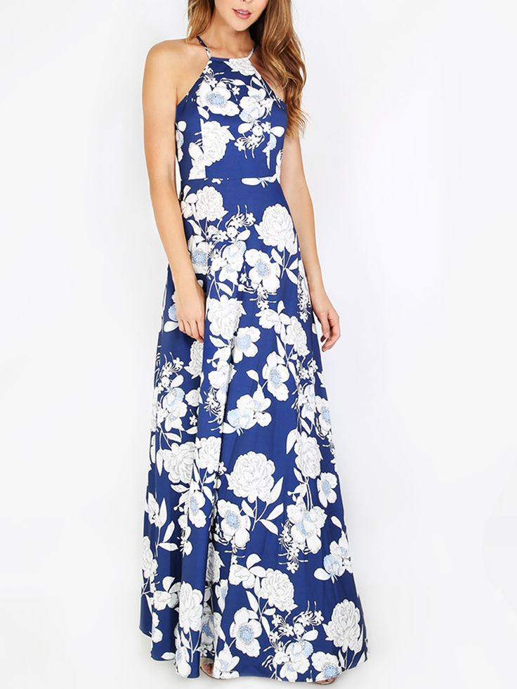 Shop Blue Halter Neck Floral Print Maxi Dress online. SheIn offers Blue Halter Neck Floral Print Maxi Dress & more to fit your fashionable needs.