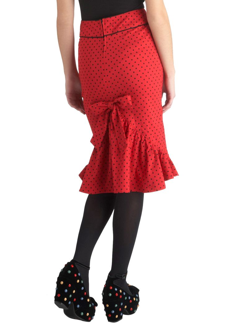 All That Snazzy Skirt - Red, Black, Polka Dots, Ruffles, Pencil, Long, Rockabilly, Pinup, Vintage Inspired, Holiday Party