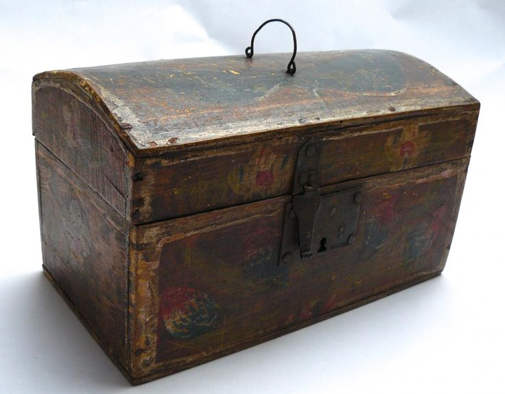 Norman Wooden Chest/box With Polychrome Decor XVIIIth Folk Art, Les Couloirs du Temps, Proantic