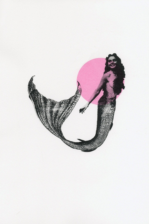 Circle Mermaid Screen Print - Meggie Wood  1 Stencil was used with a block of colour for the background