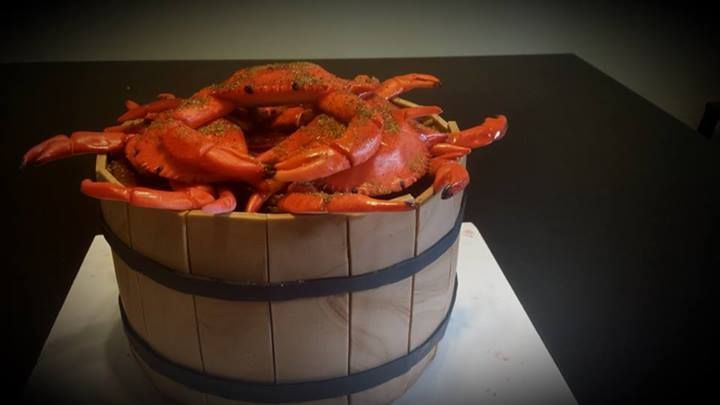 A delicious bushel of crabs... CAKE!!!  with a dash of old bay on top