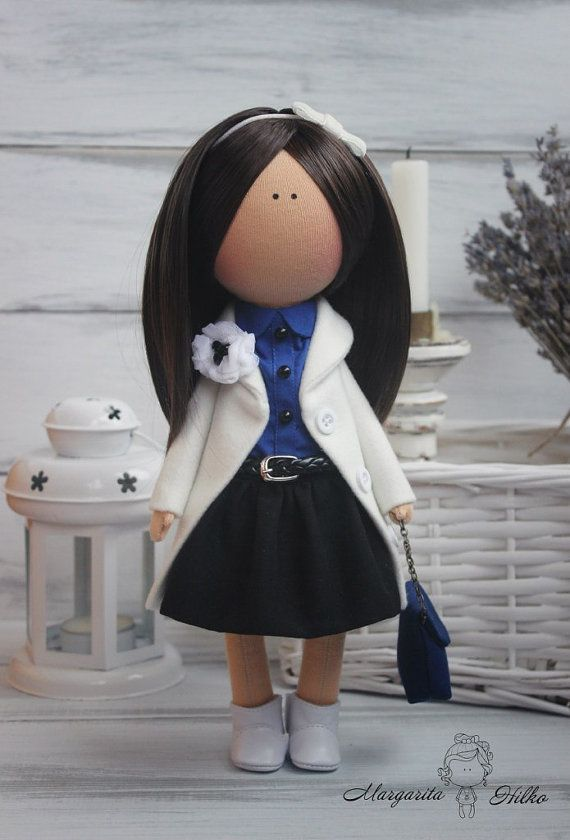 Hand made Decor doll brunette white blue Soft by AnnKirillartPlace