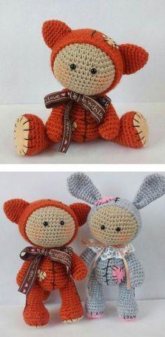 Amigurumi baby dolls dressed in animal costumes - free crochet pattern, stuffed toy, #haken, gratis patroon (Engels), knuffel met meerdere mogelijkheden, konijn, beer, speelgoed, kraamcadeau, #haakpatroon
