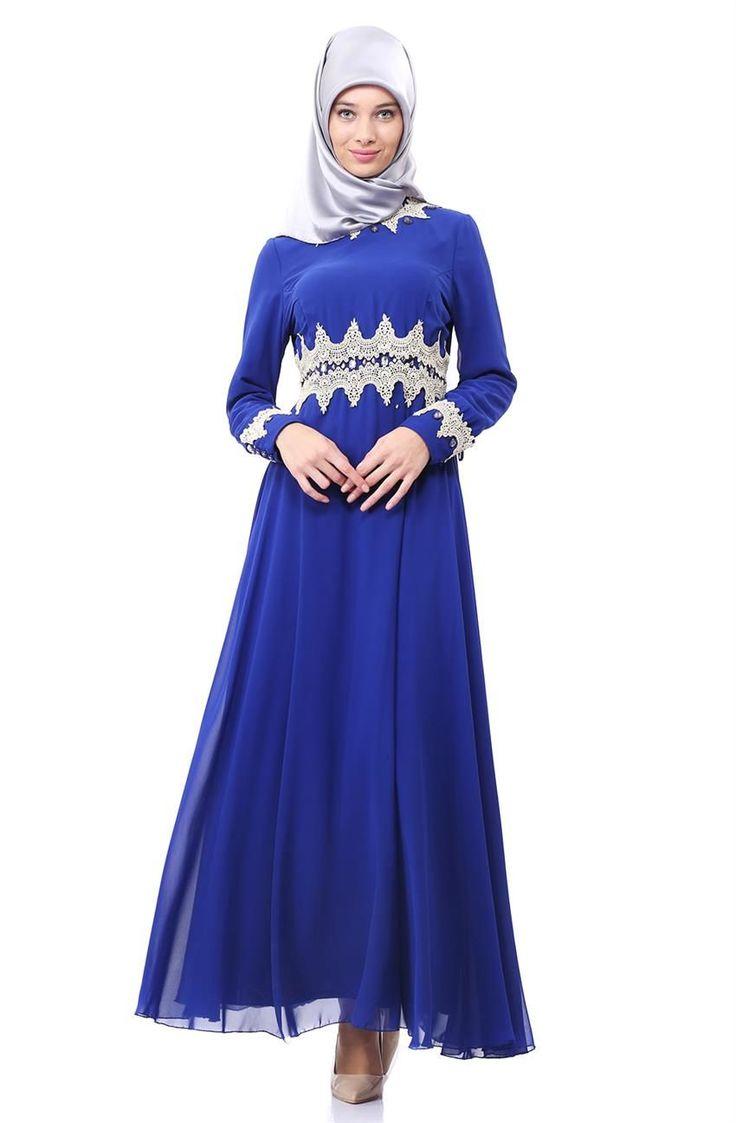Nursima Güpür Detaylı Abiye Elbise-Saks 8009-47