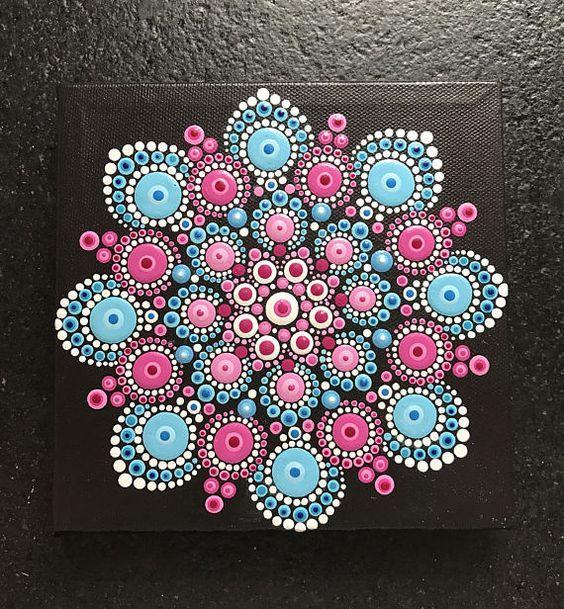 Pintado a mano original Mandala acrílico pintura de la lona