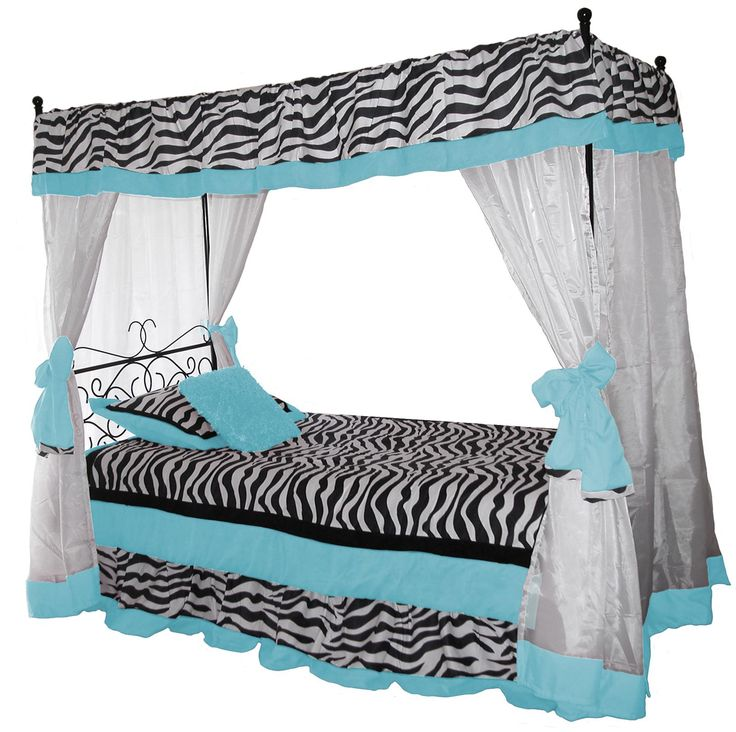 You will love this darling wrought iron canopy bed WITH blue zebra Bedding. This includes  sc 1 st  Pinterest & 17 best Cute Canopy Tops For Your Canopy Bed images on Pinterest ...