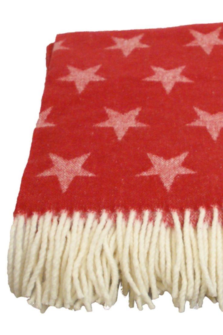 Pledd Stort pledd rødt med stjerner ClickMe.no
