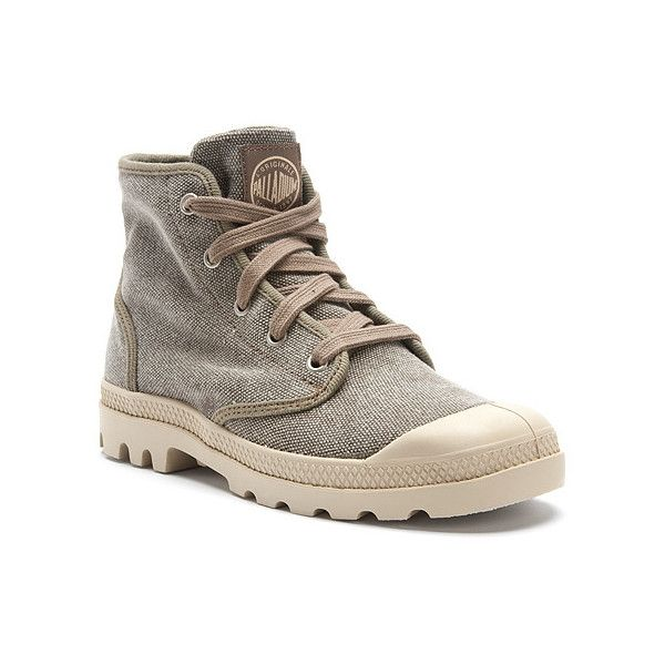 Palladium Pampa Hi Canvas ($65) ❤ liked on Polyvore featuring shoes, sneakers, boots, boue, men, canvas lace up sneakers, retro sneakers, canvas lace up shoes, retro shoes and retro high top sneakers