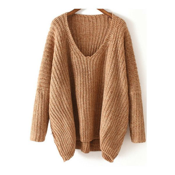 SheIn(sheinside) V Neck Chunky Knit Khaki Dolman Sweater ($22) ❤ liked on Polyvore featuring tops, sweaters, sheinside, shirts, khaki, v neck shirts, long sleeve shirts, loose long sleeve shirts, dolman sweater and khaki shirt