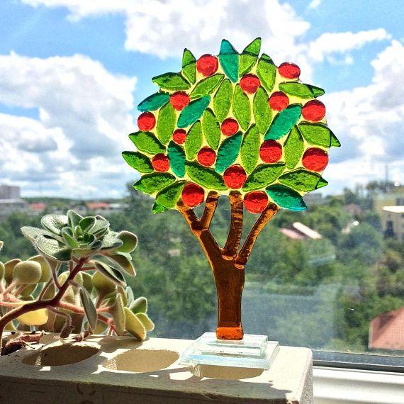 Orangenbaum Fused Glass Orangenbaum Glasbaum Glass Souvenir Wohnkultur Glasskulptur Einzigartige handgemachte Glaskunstfigur   – Glass art