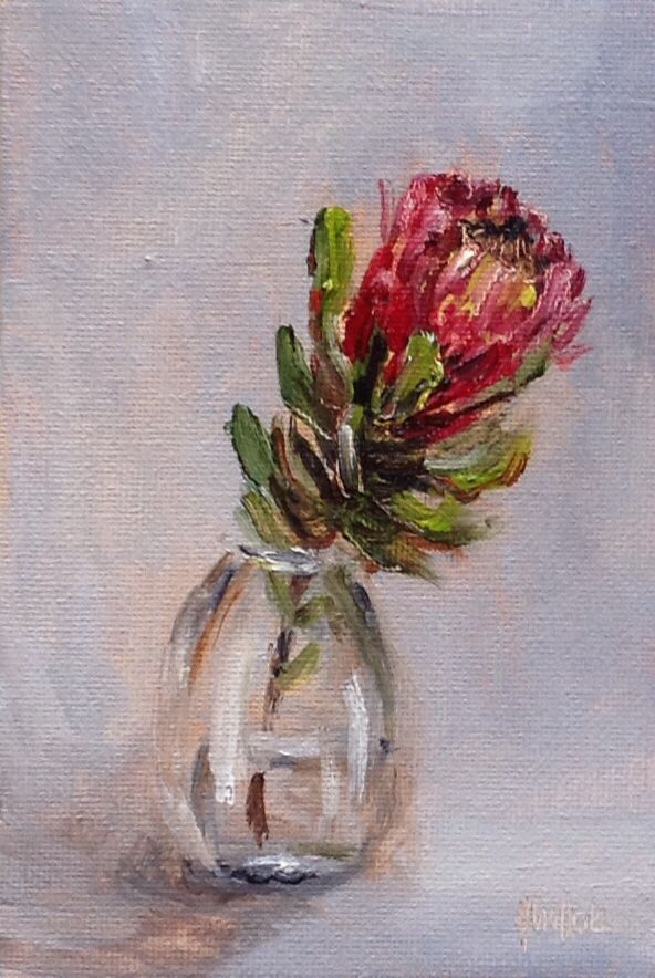 """Protea in a glass jar #380"" daily painting by Heidi Shedlock. Visit the blog and follow links to the online store."