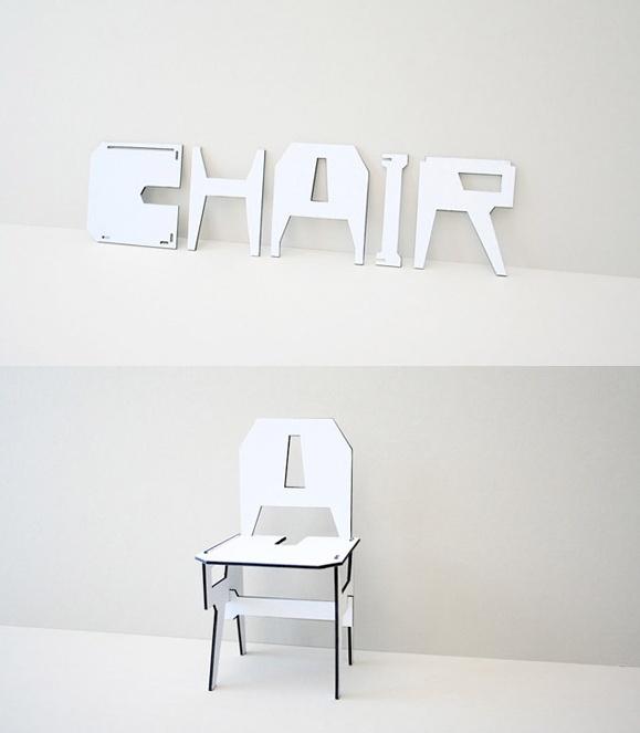 Toegepaste kunst  : met de letters c-h-a-i-r kun je de stoel maken. kunst om op te zitten!