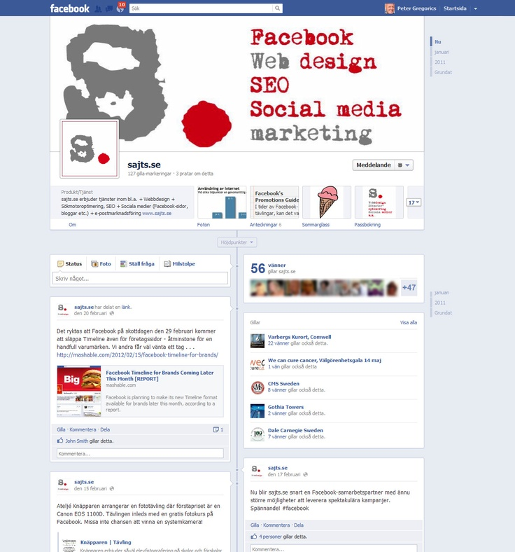 The new look of Facebook pages from the 30th of March 2012 with timeline etc.
