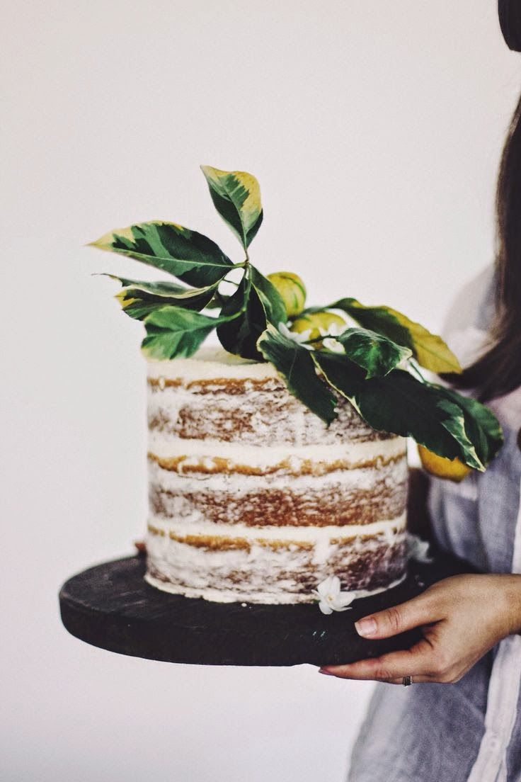 Nearly Naked Cake with Fresh Citrus Topper for a Botanical Inspired Wedding