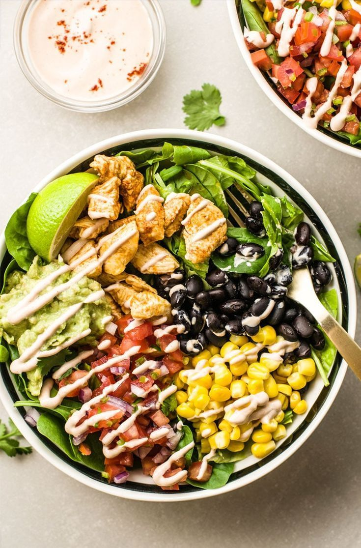 Chicken Burrito Bowl with Fresh Pico de Gallo & Creamy Chipotle Sauce – savory | savoury | mouth-watering …