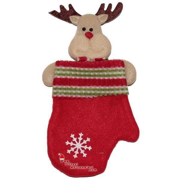 Ren Geyiği Figürlü Eldiven Şeklinde Noel Hediye Çorabı 20 cm