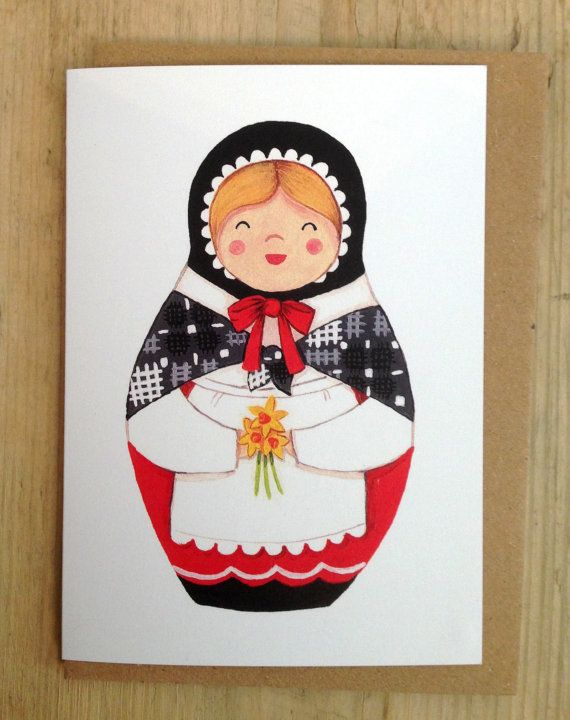 Welsh Lady Card. Welsh Costume. Welsh Babushka Matryoshka Doll. Wales Cymru Dydd Gwyl Dewi Sant St Davids Day Card. Heulwen. Stacking Dolls