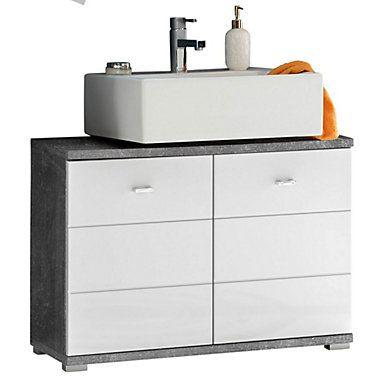 meuble sous vasque 80 cm santorin blanc et béton | hello spring