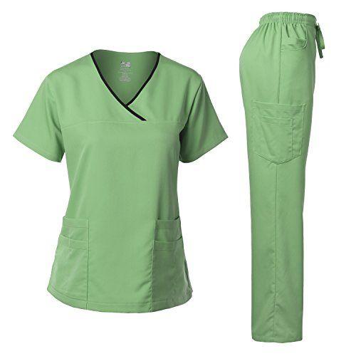 Dagacci Medical Uniform Women's Scrub Set Stretch Contrast
