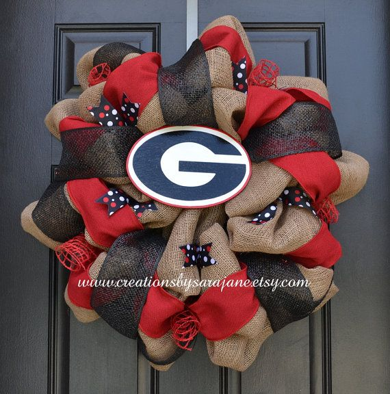 University of Georgia Wreath - Georgia Bulldogs Wreath - Burlap Collegiate Wreath on Etsy, $95.00