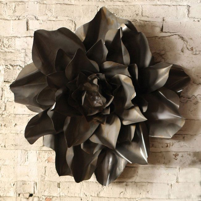 I am so getting this!!! Love Love Love  Metal Flower Wall Accent in Raw Finish | dotandbo.com