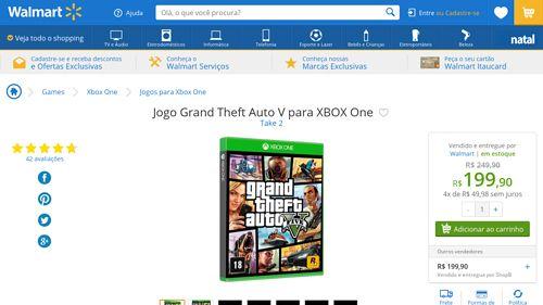 [Wal-Mart] Jogo Grand Theft Auto V para XBOX One 899575 - de R$ 249,90 por R$ 199,90 (9% de desconto)