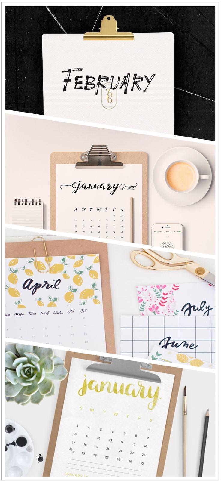 Happy 2016: Kostenlose Kalender Printables