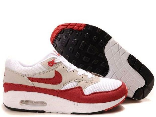 White Sport Red Neutral Grey Black Nike Air Max 1 Men's Shoes #Red #Womens